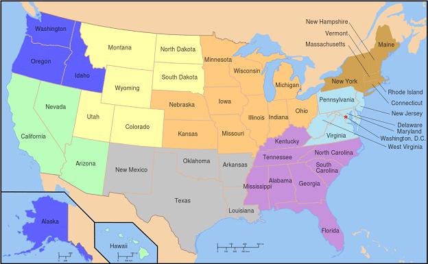 Carte Etats-Unis préparer voyage