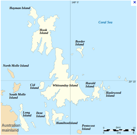 carte des Withsundays map australie