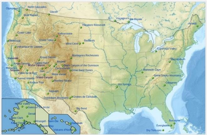 Carte des parcs USA pass