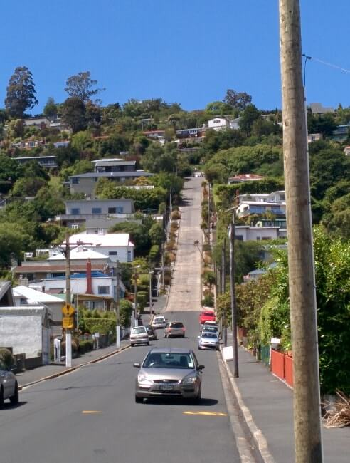 Route la plus pentu du monde - Baldwin street, Dunedin en Nouvelle Zélande